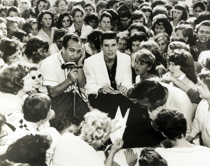 Art Laboe & Ricky Nelson at Scriveners Drive-In, Hollywood, 1957.