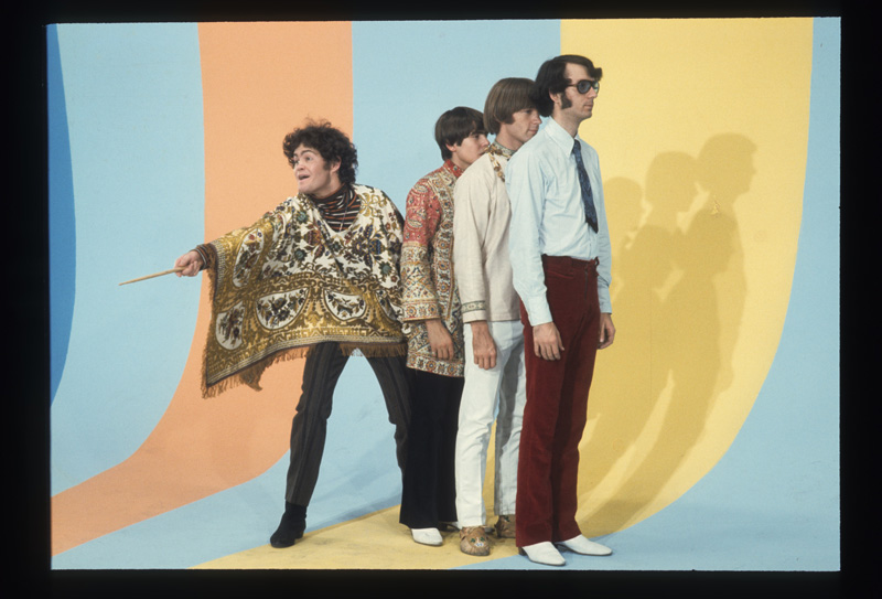 "The Monkees on the ""rainbow"" set of The Monkees, Chicago, 1967."