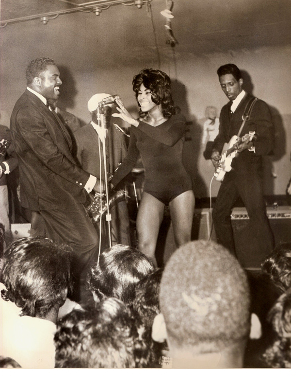 Ike & Tina Turner onstage with DJ Jimmy Bird, circa 1961.