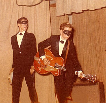 "Little Willy G (left) and Bobby Cochran in a photo taken by Cochran's mother, performing at the first ""Battle of the Bands"" show in St. Alphonsus Hall at East L.A. College, 1962."