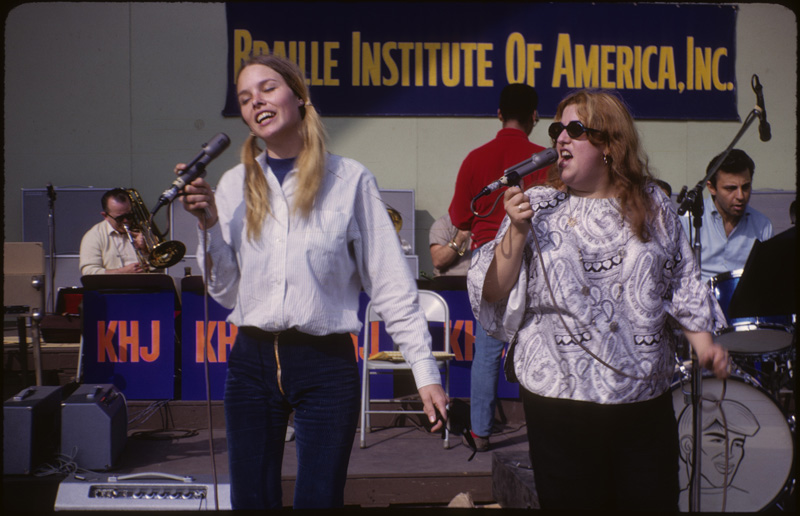 Michelle Phillips & Cass Elliott at the Hollywood Bowl, April 12, 1966.