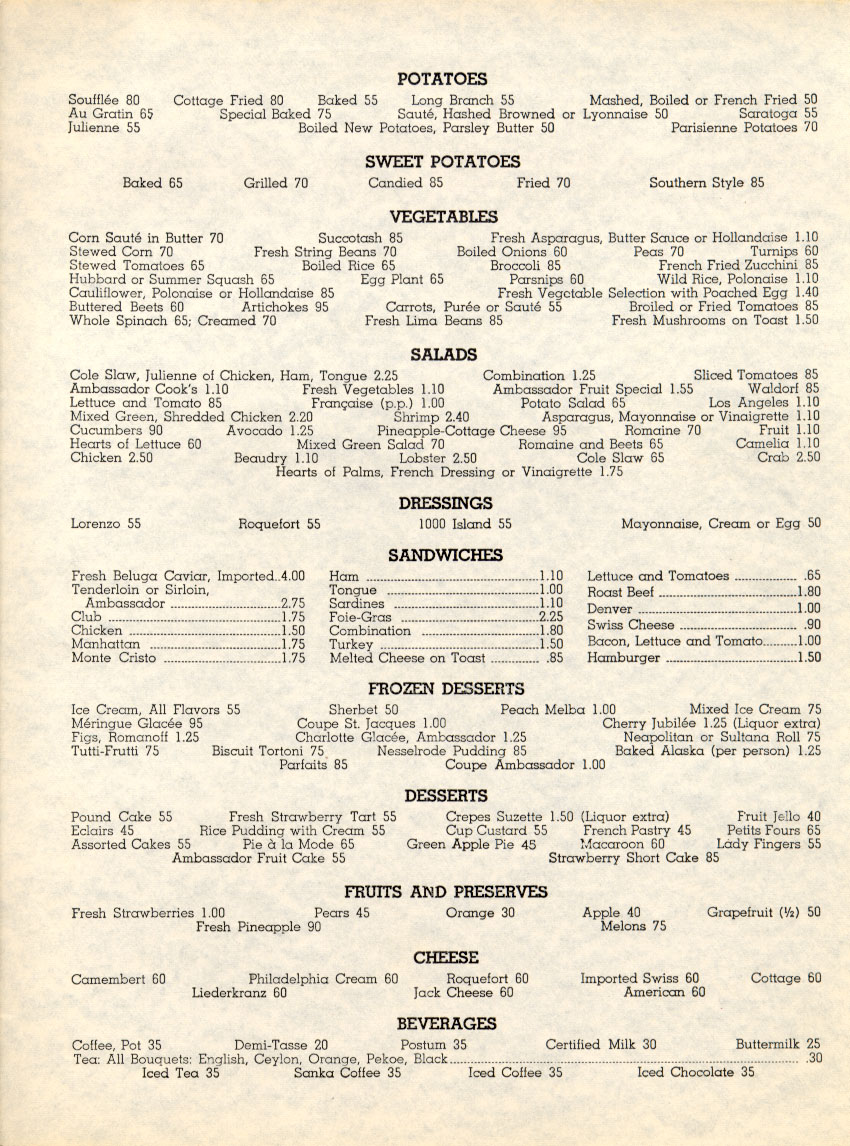 a la carte menu for ambassador hotel
