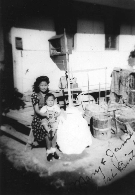 Mother and her baby at the Gila River internment camp