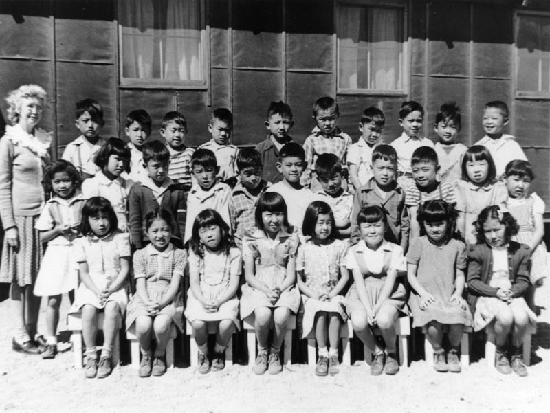 Japanese American school children at internment camp