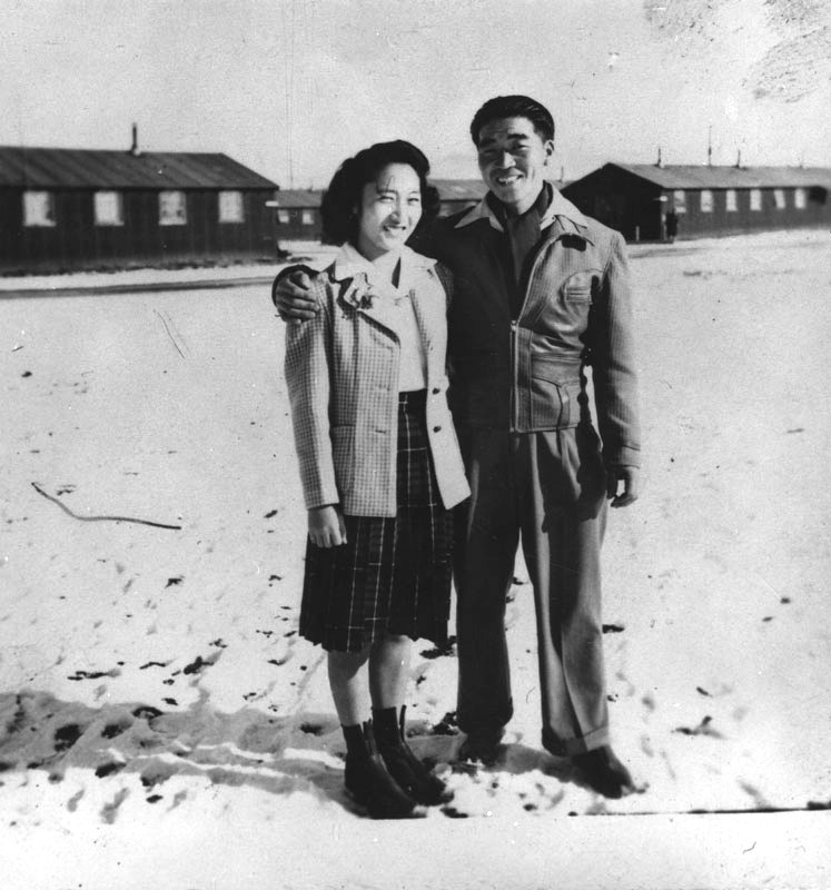 Japanese Americans at internment camp in winter