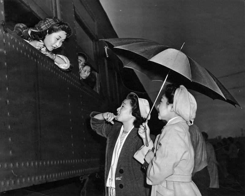 Japanese girls leaving for Manzanar