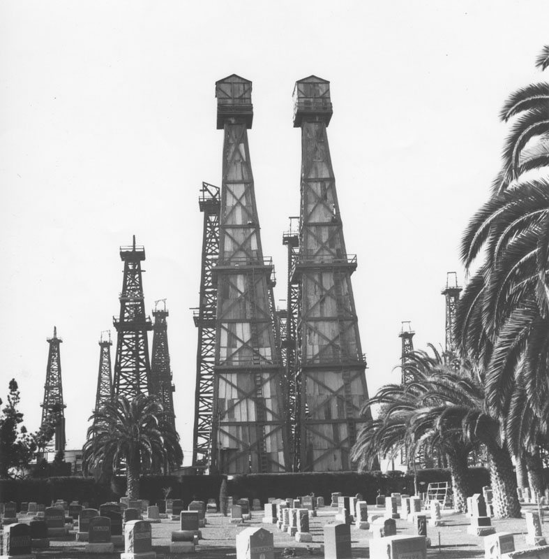 oil derricks by sunnyside cemetery