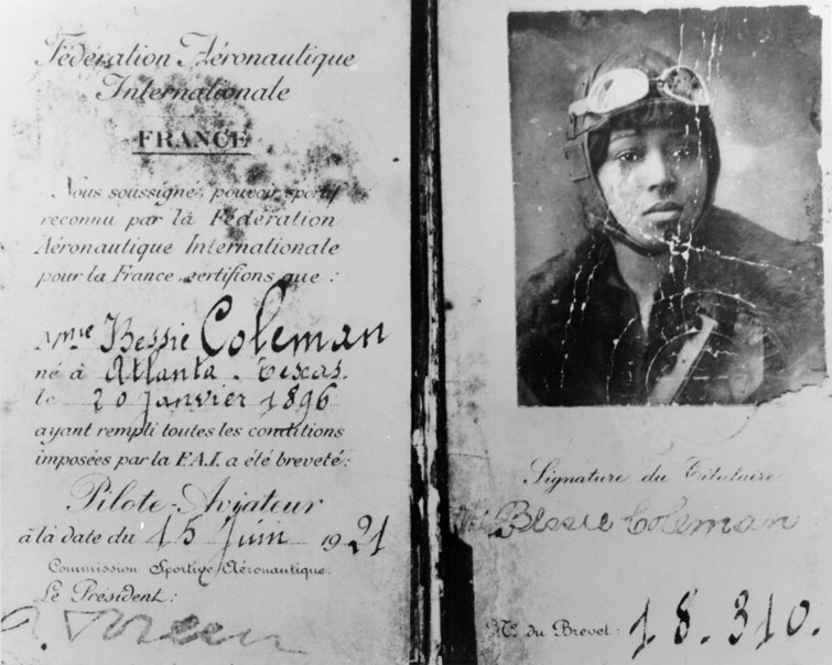 pilot license of bessie coleman