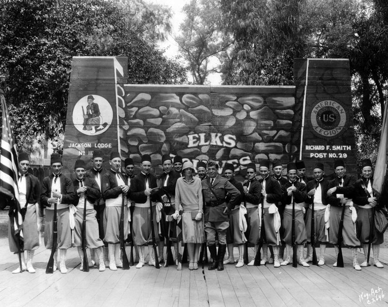 amelia earhart with elks drill team