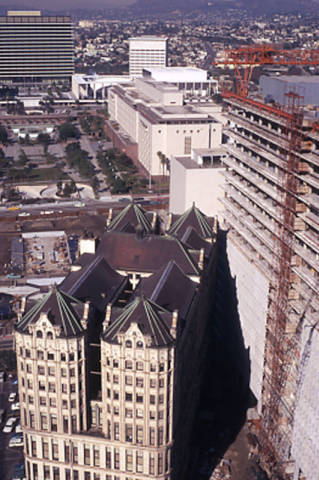 panoramic view of 1970 downtown los angeles